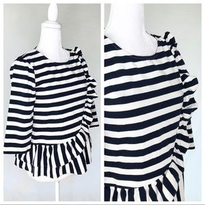 J. Crew Tops - J. Crew navy stripe asymmetric ruffle top blouse